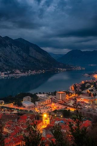 iPhone Wallpaper Kotor, Montenegro, bay, fjord, city, houses