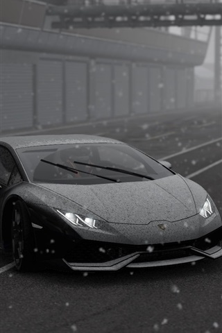 Lamborghini Supercar Snowy Black And White Picture 640x960 Iphone