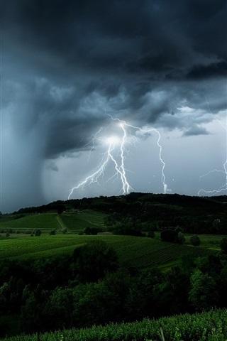 iPhone Wallpaper Lightning, black clouds, storm, fields