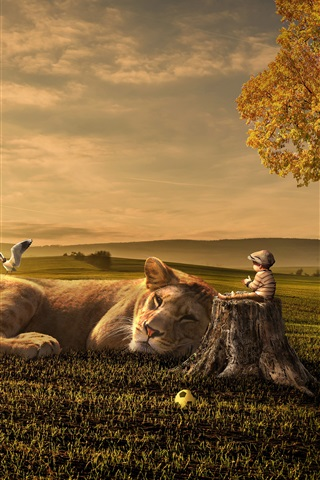 iPhone Wallpaper Lion, baby, friends, grass, tree, bird, creative design