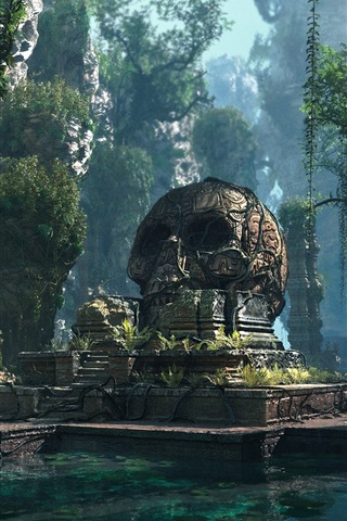 iPhone Wallpaper Lost Civilization, skull, pond, forest, PC game