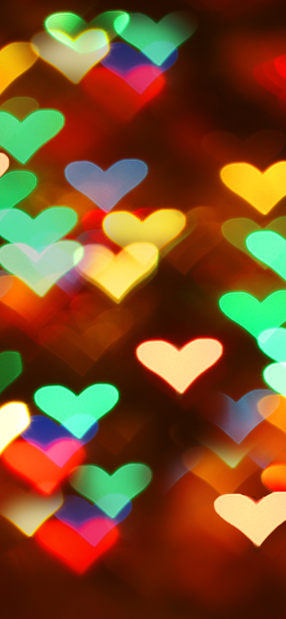 Many Love Hearts Lights Colorful Blurry 1125x2436 Iphone