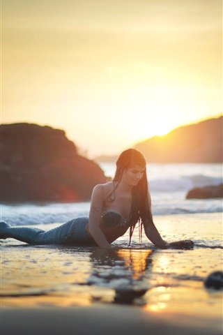 iPhone Wallpaper Mermaid, beach, sea, sunset