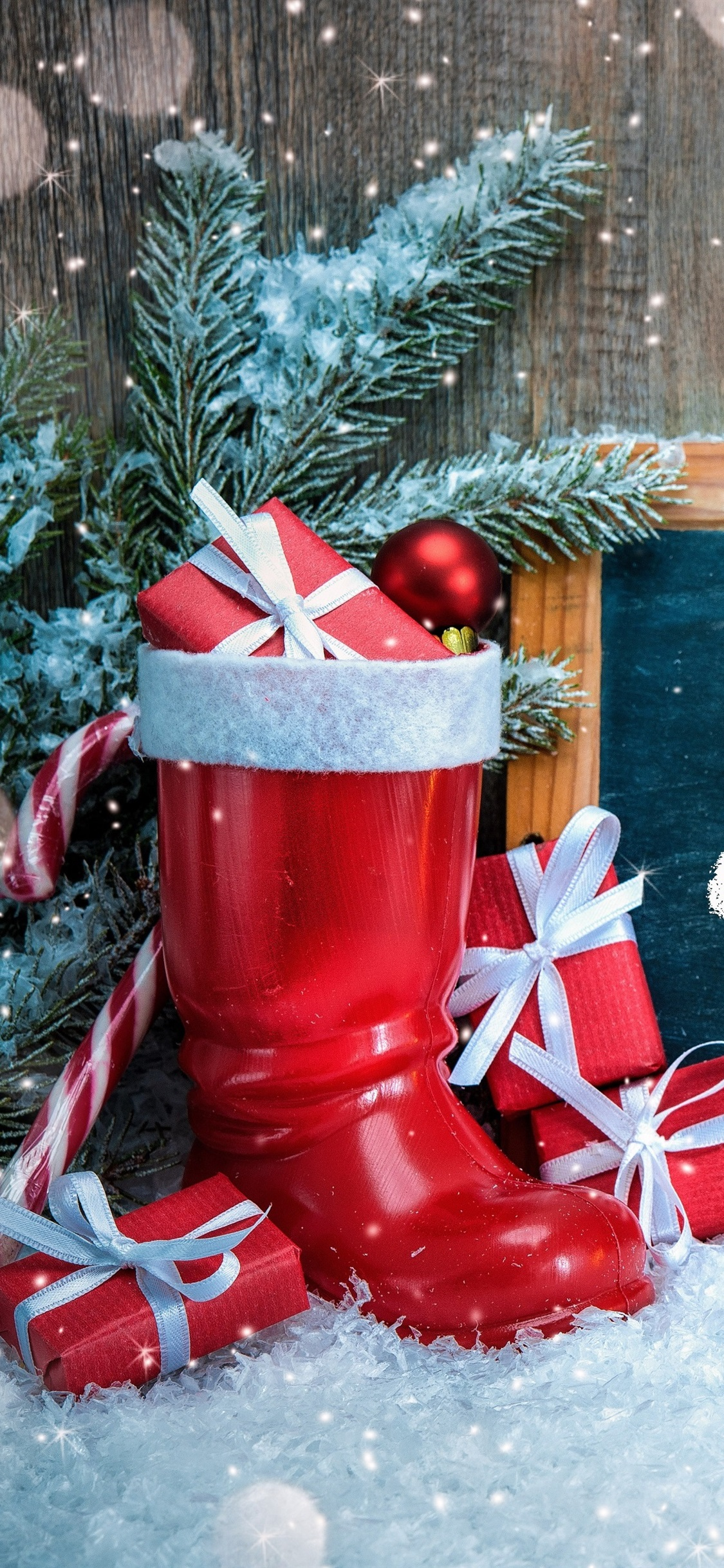 Merry Christmas Shoes Lamp Snow Gifts 1125x2436 Iphone 11 Pro Xs X Wallpaper Background Picture Image