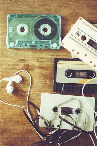 Music Theme Headphones Cassettes Retro 1125x2436 Iphone 11 Pro Xs X Wallpaper Background Picture Image