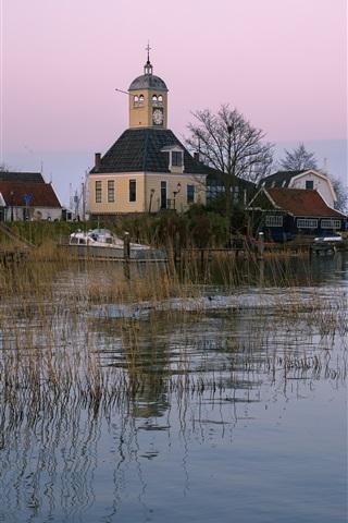 iPhone Wallpaper Netherlands, church, houses, boats, grass, river
