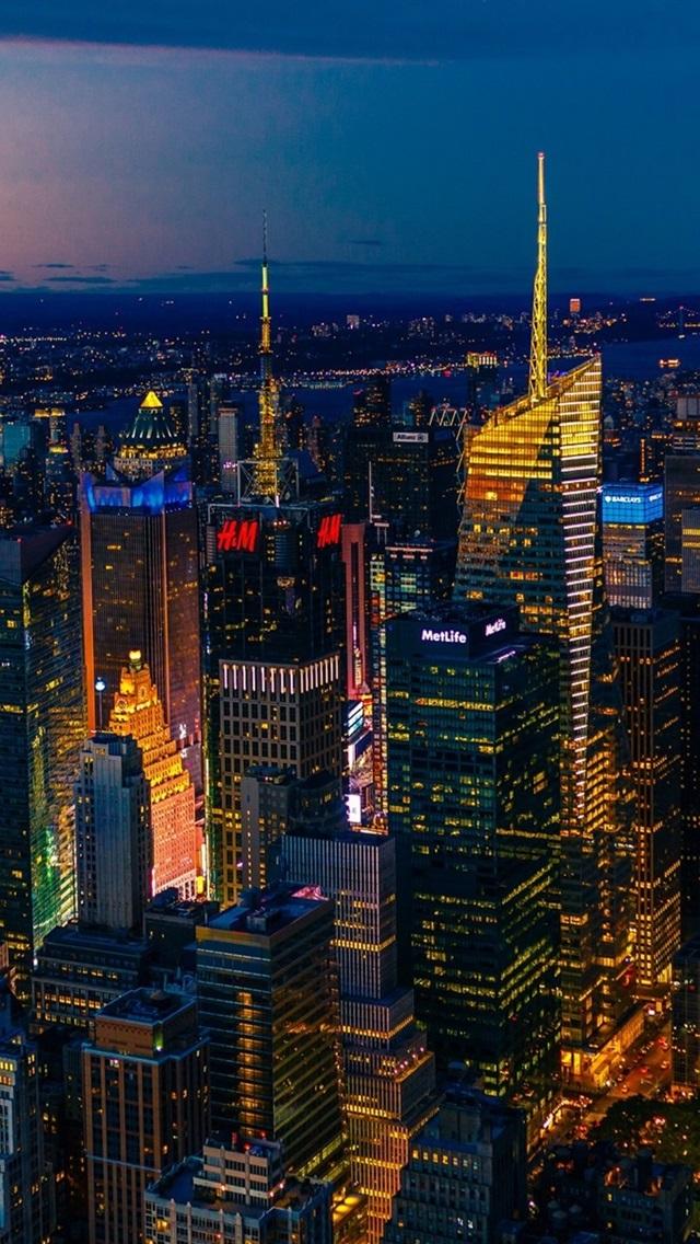 壁紙 ニューヨーク 夜景 パノラマ 高層ビル ライト アメリカ 19x10 Hd 無料のデスクトップの背景 画像