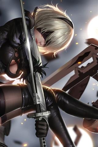 iPhone Wallpaper Nier: Automata, girl, sword, fight