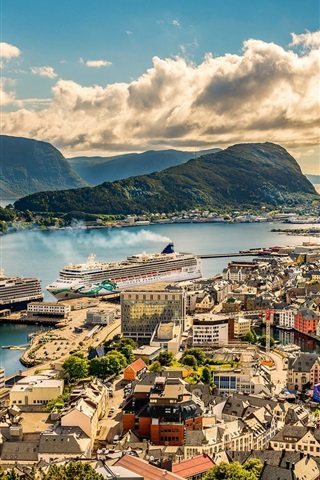 iPhone Wallpaper Norway, Alesund, city, houses, sea, ships