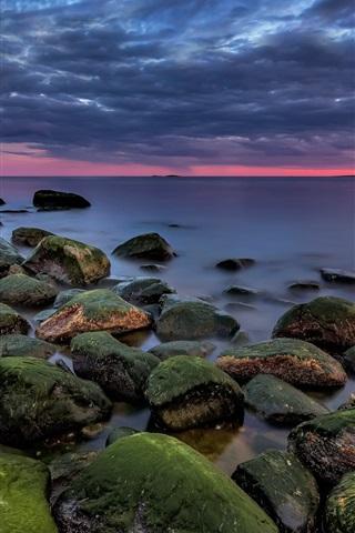 iPhone Wallpaper Norway, Asmaloy, sea, stones, moss, clouds, dusk