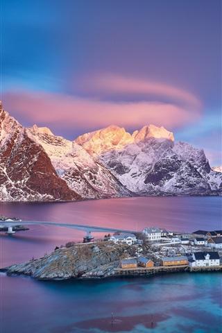 iPhone Wallpaper Norway, Lofoten Islands, village, sea, mountains, snow, dusk