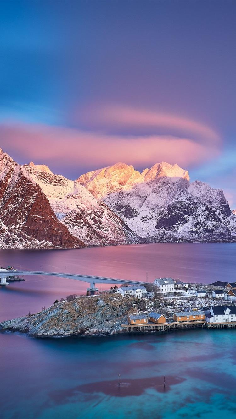 Norway Lofoten Islands Village Sea Mountains Snow Dusk