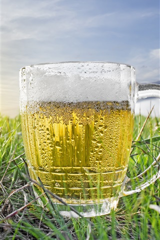 iPhone Wallpaper One cup of beer, water droplets, cold, grass