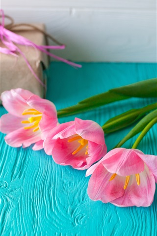 iPhone Wallpaper Pink tulips, table, gift