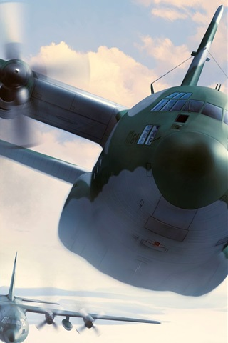 iPhone Wallpaper Plane flight, military aircrafts, art picture