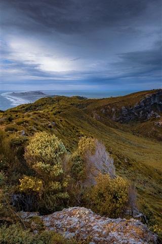 iPhone Papéis de Parede Puponga, Tasman, Nova Zelândia, mar, nuvens