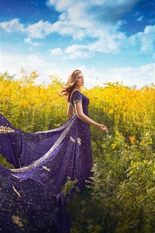 iPhone Wallpaper Purple skirt girl, plants
