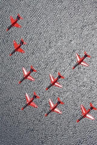 iPhone Wallpaper Red Arrows, aircraft, flight, sea
