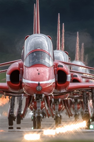 iPhone Wallpaper Red Arrows, aircraft, front view
