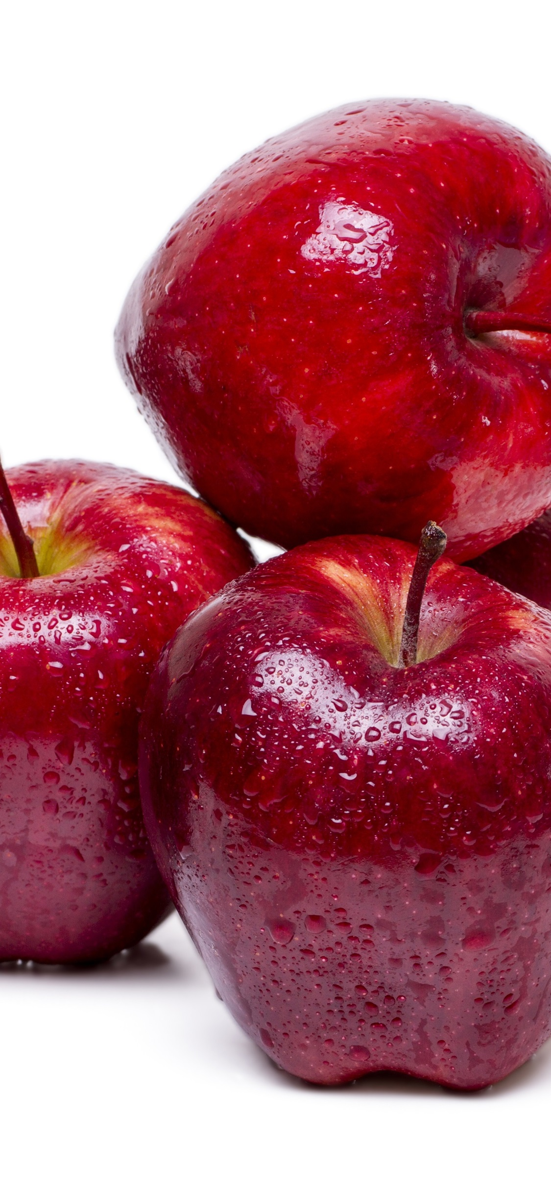 Red Apples Fresh Fruit Water Droplets White Background 1125x2436 Iphone 11 Pro Xs X Wallpaper Background Picture Image