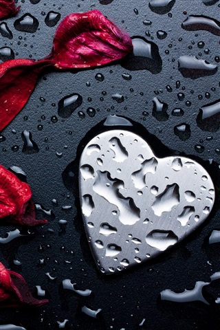 iPhone Wallpaper Red rose petals, love heart, water droplets