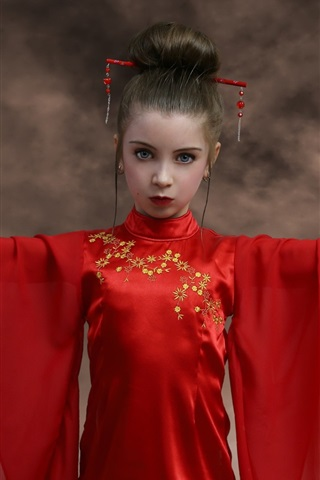 iPhone Wallpaper Red skirt girl, fans, Japanese style