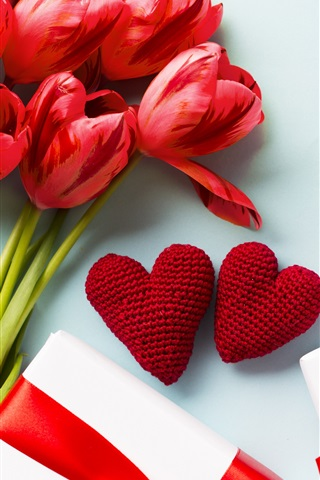 iPhone Wallpaper Red tulips, love hearts, gifts
