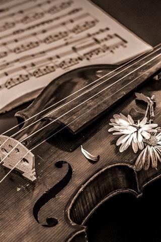 iPhone Wallpaper Retro style, violin, music score