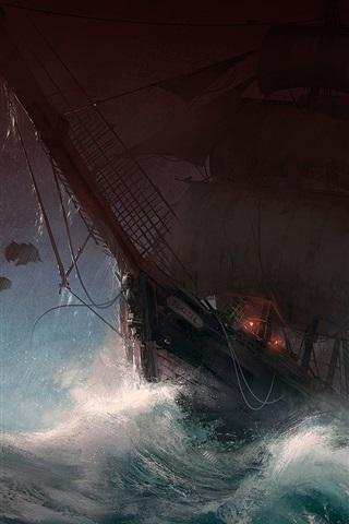 iPhone Wallpaper Sailboat, storm, sea, waves, bat, art picture