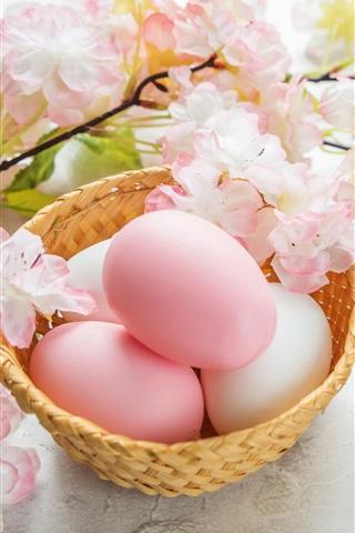 iPhone Wallpaper Sakura, pink flowers, eggs, Happy Easter
