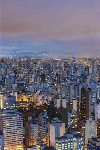 iPhone Wallpaper Sao Paulo, Brazil, city, top view, lights, night