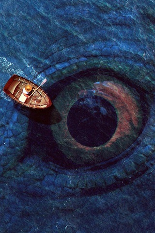 iPhone Wallpaper Sea, big eye, boat, digital art design