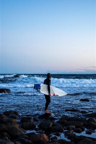 iPhone Wallpaper Sea, coast, girl, surfer, surfboard, extreme sport, rocks