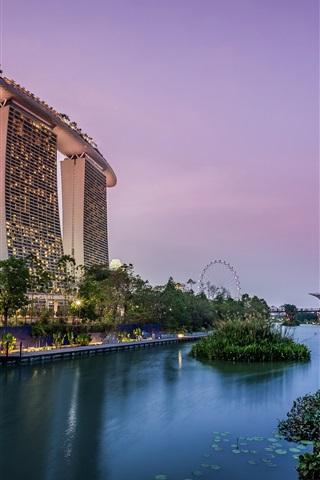 iPhone Wallpaper Singapore, garden, pond, lights, skyscrapers, evening