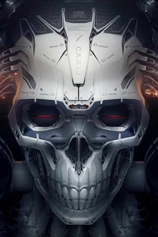 iPhone Wallpaper Skull, robot, creative design