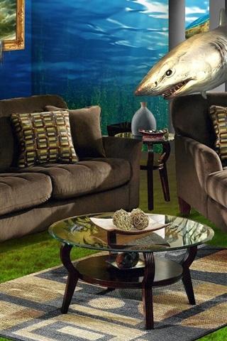iPhone Papéis de Parede Sofá, janelas, subaquática, tubarão, design criativo