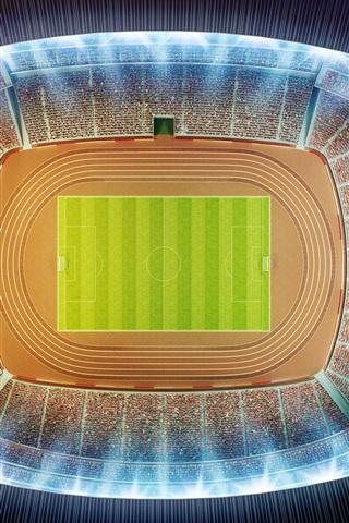 iPhone Wallpaper Stadium, football, top view, night, 3D design