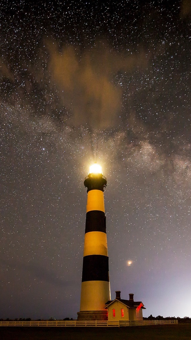 Estrellado Cielo Faro Noche 640x1136 Iphone 55s5cse
