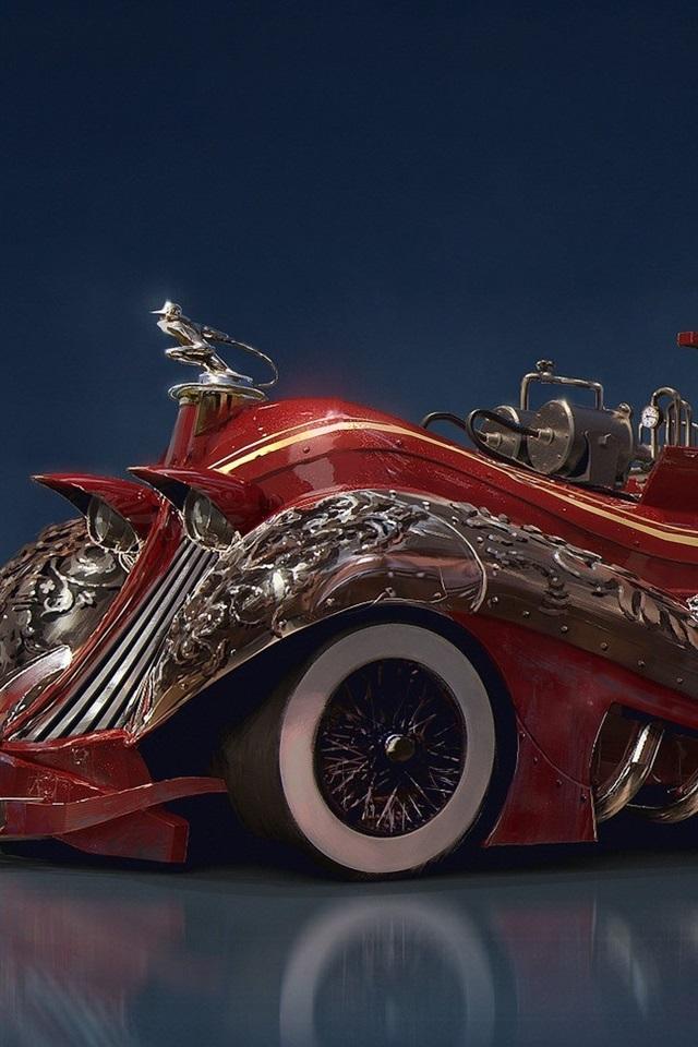 Wallpaper Steampunk Car Concept Red Fire Truck 1920x1080