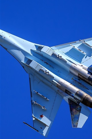 iPhone Wallpaper Su-35 multipurpose fighter flight, blue sky