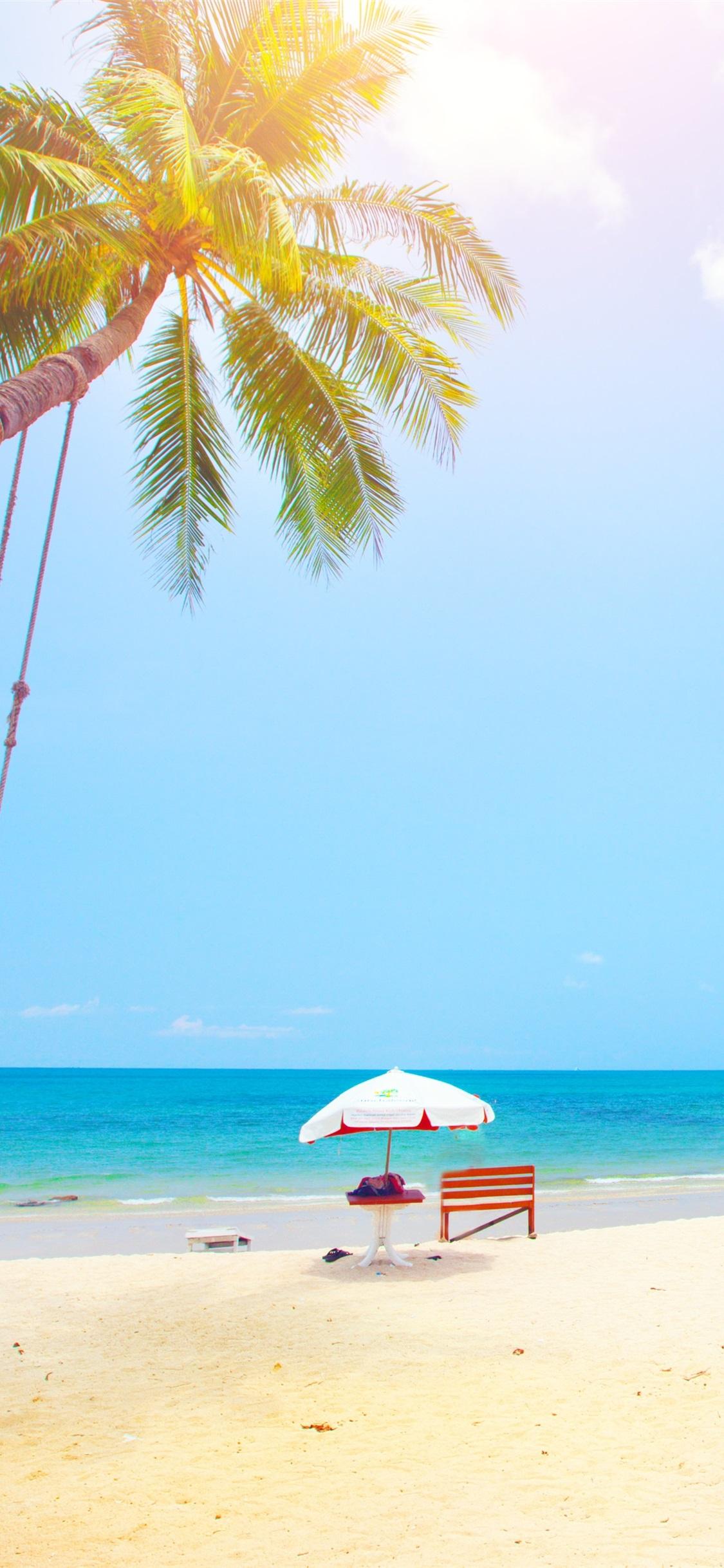 夏 熱帯 ヤシの木 ビーチ 海 1125x2436 Iphone 11 Pro Xs X 壁紙