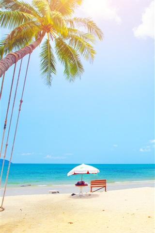 iPhone Wallpaper Summer, tropical, palm trees, beach, sea