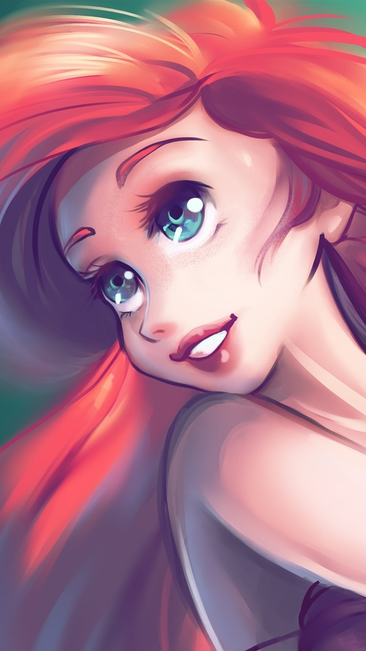 The Little Mermaid Red Hair Blue Eyes 750x1334 Iphone 8 7 6 6s