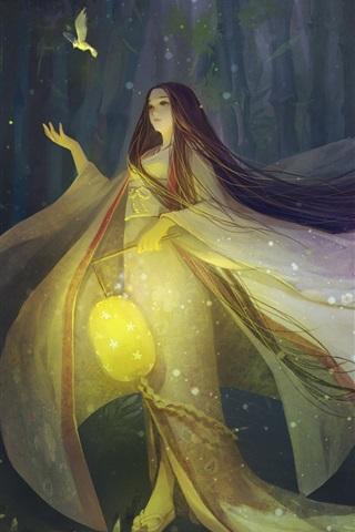 iPhone Papéis de Parede O Conto da Princesa Kaguya, noite, lâmpada, pássaro