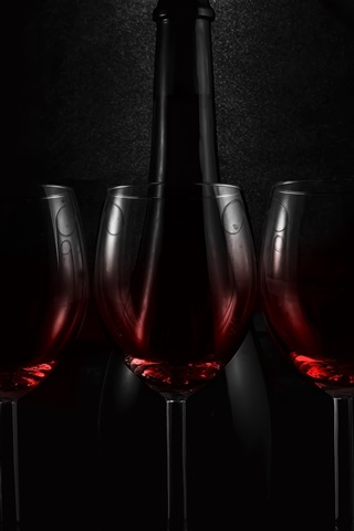 iPhone Wallpaper Three glass cups of wine, bottle, darkness