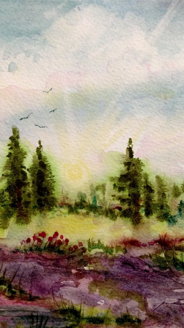 Trees Flowers Spring Watercolor Painting 750x1334 Iphone