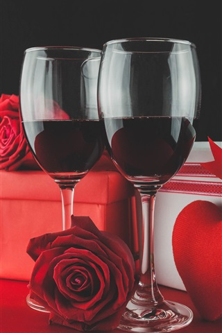 iPhone Wallpaper Two cups red wine, rose, gift, love heart, romantic