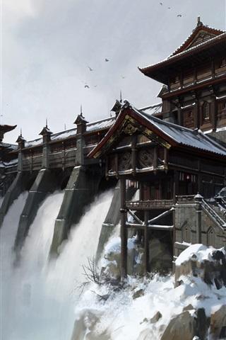 iPhone Wallpaper Waterfall, dam, China, art painting