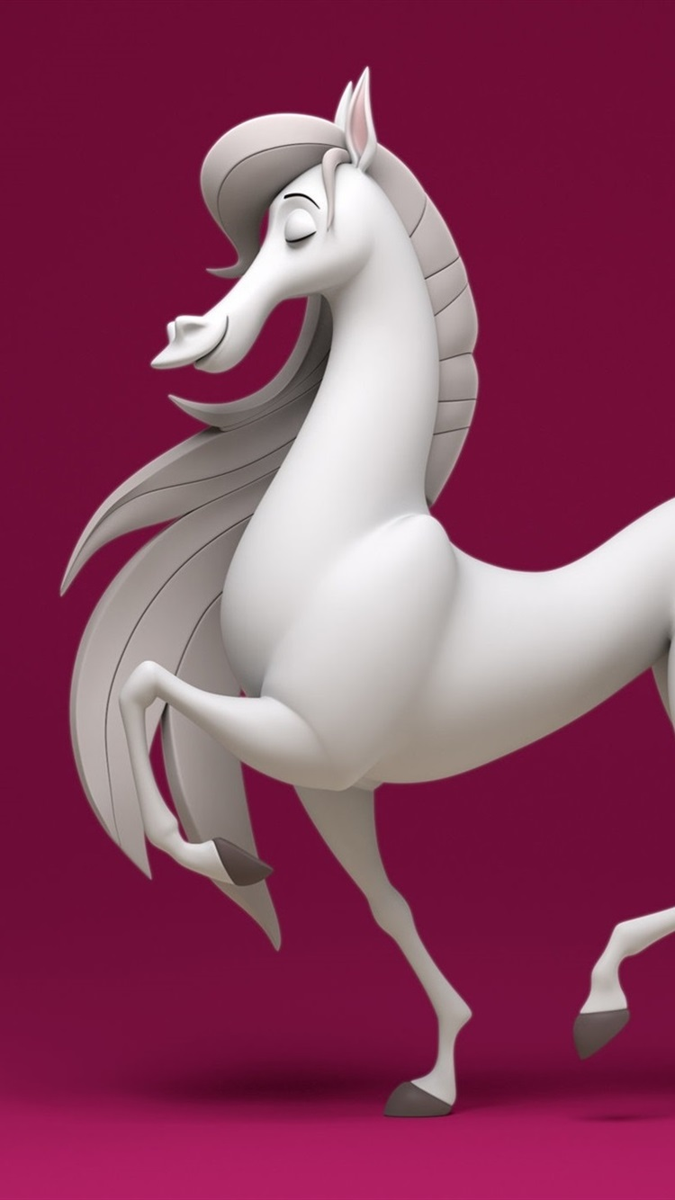 White Horse Purple Background 3d Rendering 750x1334 Iphone 8 7 6 6s Wallpaper Background Picture Image