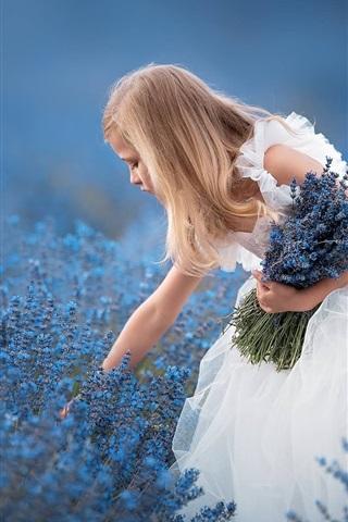 iPhone Wallpaper White skirt little girl, blue lavender flowers